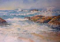 Strand, Algarve, Ozean atlantik, Aquarellmalerei