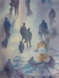 Aquarellmalerei, Laufen, Person, Nyc