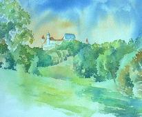 Aquarellmalerei, Veilchental, Veste coburg, Aquarell