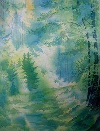 Herbst, Waldweg, Aquarellmalerei, Wald