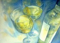 Aquarellmalerei, Wein, Frankenwein, Rebstock