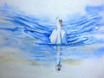Aquarellmalerei, Schwan, Wasser, Welle