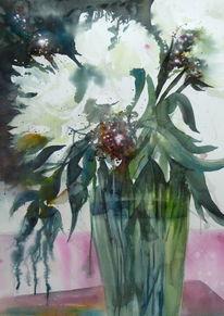 Blumen, Aquarellmalerei, Pfingstrose, Weiß