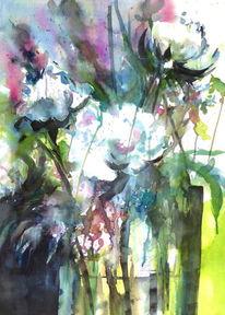 Aquarellmalerei, Blumen, Weiß, Pfingstrose