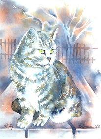 Tiere, Katze, Haustier, Aquarellmalerei