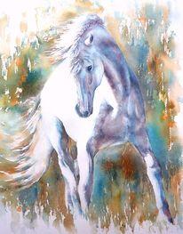 Pferde, Wild mane, Weiß, Aquarellmalerei
