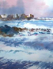 Ozean, Cruz, Aquarellmalerei, Puerto