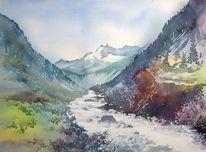 Österreich, Aquarellmalerei, Wildgerlostal, Alpen