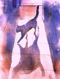 Aquarellmalerei, Gegenlicht, Katze, Morgensonne