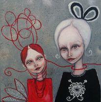 Mutter, Mädchen, Ornamente, Grau