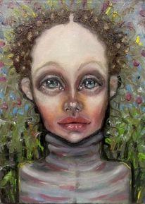Mädchen, Garten, Portrait, Kleines format