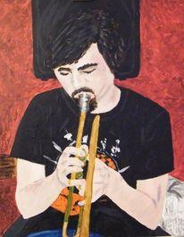 Dertrompeter, Acrylmalerei, Malerei,