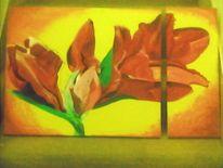Pflanzen, Acrylmalerei, Malerei, Amaryllis