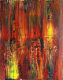 Rot, Struktur, Acrylmalerei, Gelb