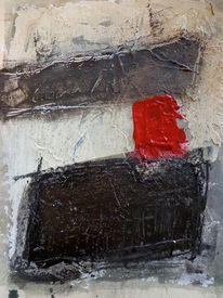 Kohlezeichnung, Umbra, Rot schwarz, Spachtel