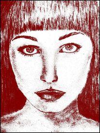 Gesicht, Bleistiftzeichnung, Frau, Skizze