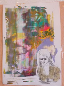 Schreiben, Portrait, Mädchen, Zeichnen