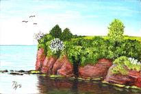 Felsen, England, Meer, Acrylmalerei