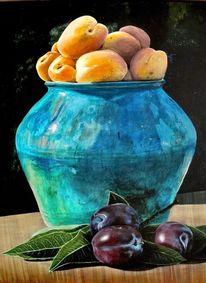 Pflaume, Blau, Keramik, Topf