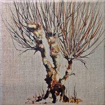 Baum, Kopfweide, Weide, Aquarell