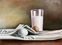 Ei, Stillleben, Ölmalerei, Milch