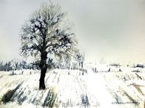 Schnee, Baum, Feld, Landschaft