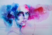 Magie, Aquarellmalerei, Gesicht, Portrait