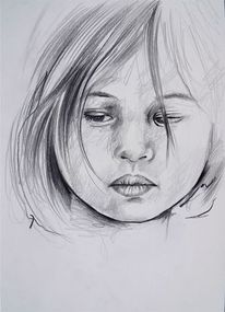 Bleistiftzeichnung child, Kind, Bleistiftskizze kind, Pencildrawing child