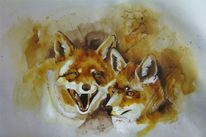 Fuchszeichnung, Jagd, Fuchs, Federzeichnung