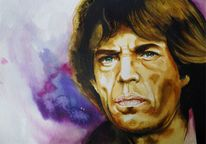 Rolling stones, Portrait, Aquarellmalerei, Mick jagger