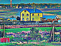 Haus, Dorf, Dorfhaus, Digitale kunst