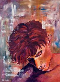 Mann, Kalte farben, Ölmalerei, Junge