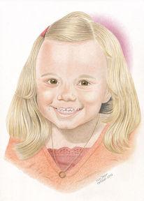 Kind, Zeichnungen, Portrait, Mädchen