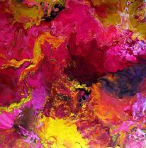 Pink, Acrylmalerei, Gold, Abstrakt