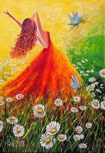 Schmetterling, Mädchen, Blühen, Blumenwiese
