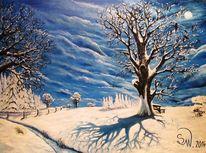Winterweg, Nacht, Landschaft, Baum