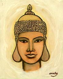 Buddha, Gold, Acrylmalerei, Portrait