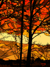 Digitale kunst, Baum, Digital, Herbst