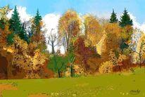 Landschaft, Farben, Wald, Herbst