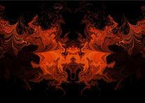 Rot, Drache, Farben, Digitale kunst