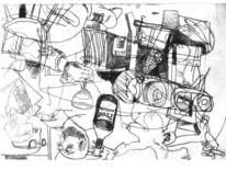 Kaltnadelradierung, Druckgrafik, Planierraupe, Bagger