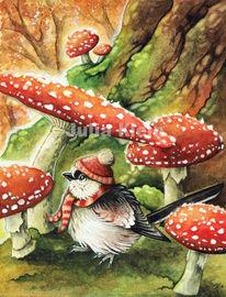 Vogel, Fantasie, Wald, Herbst