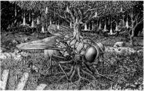 Tuschmalerei, Landschaft, Holzschnitt, Greis