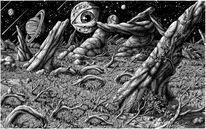 Landschaft, Nacht, Zeichnung, Buch