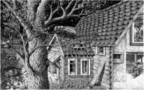 Buch, Landschaft, Tuschmalerei, Zeichnung