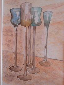Malerei, Gläser set, Aquarellmalerei, Aquarell