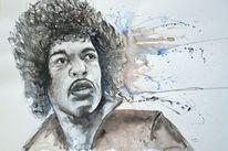Gesicht, Hendrix portrait, Expressive malerei, Abstrakte malerei
