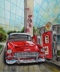 Rot, Auto, Tankstelle, Malerei