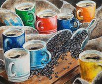 Bunt, Kaffee, Pause, Malerei