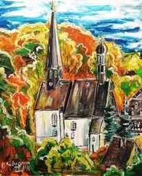 Herbst, Bunt, Dorf, Kirche